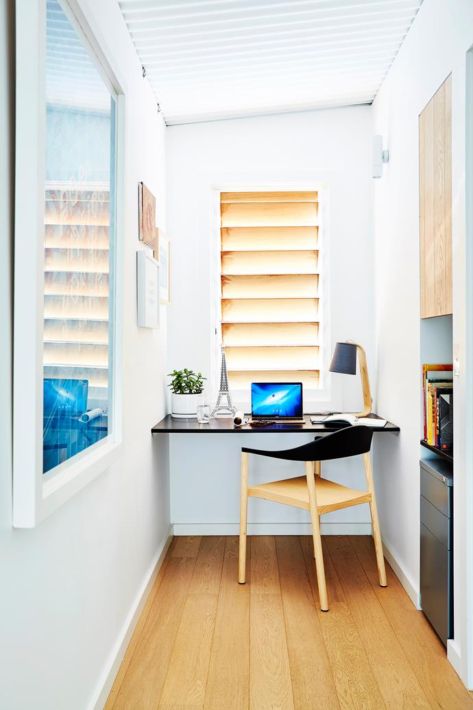 Built-in joinery transforms a small nook into a compact but perfectly formed study.