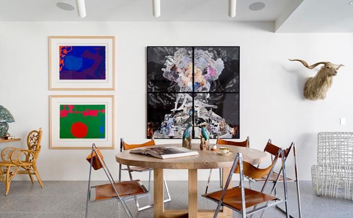 A table from MCM House is paired with chairs inherited from Miranda's grandmother. Artworks by Patrick Heron (left) and Lillian O'Neil (centre).