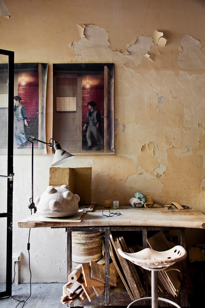 Setsuko's ceramic studio celebrates peeling walls and old, industrial-style furniture, perhaps in the spirit of wabi-sabi.