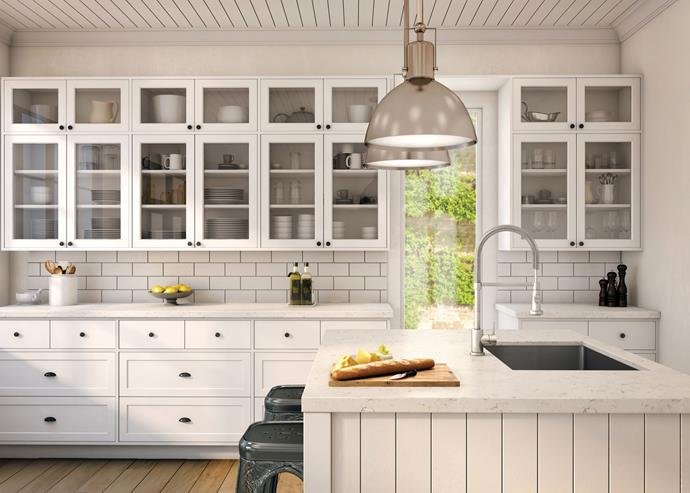 These [Laminex](https://laminexdesignhub.com.au/) profile cabinet doors give this kitchen an authentic French provincial feel. *Photo: supplied*