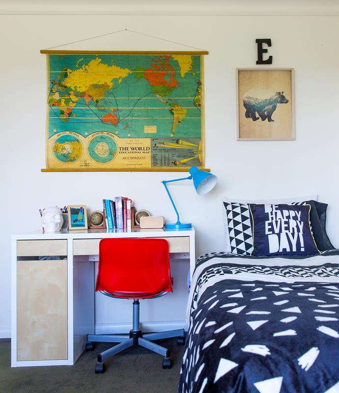 In Ed's bedroom, a vintage-look world map from Typo is centre stage.