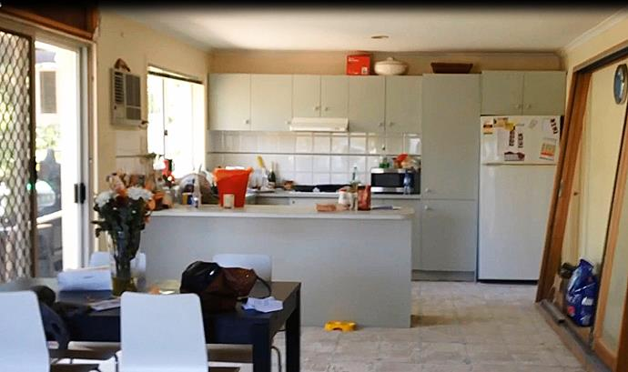 BEFORE: The colour and style of the original kitchen was dated and daggy.