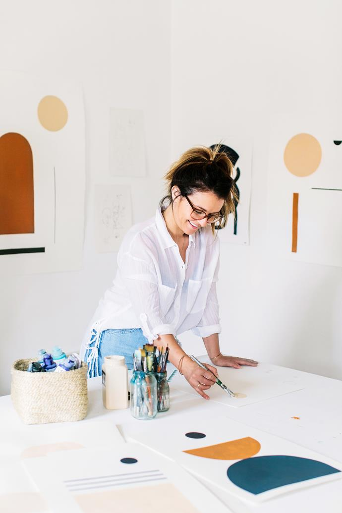 """Bobby has always had what she calls a """"clinical"""" work space.""""I need it to be clean and minimal, with lots of space because I work with big sheets of paper,"""" she explains. Blank walls are also essential, """"when I've finished a painting I pin it up and step back to have a look."""""""