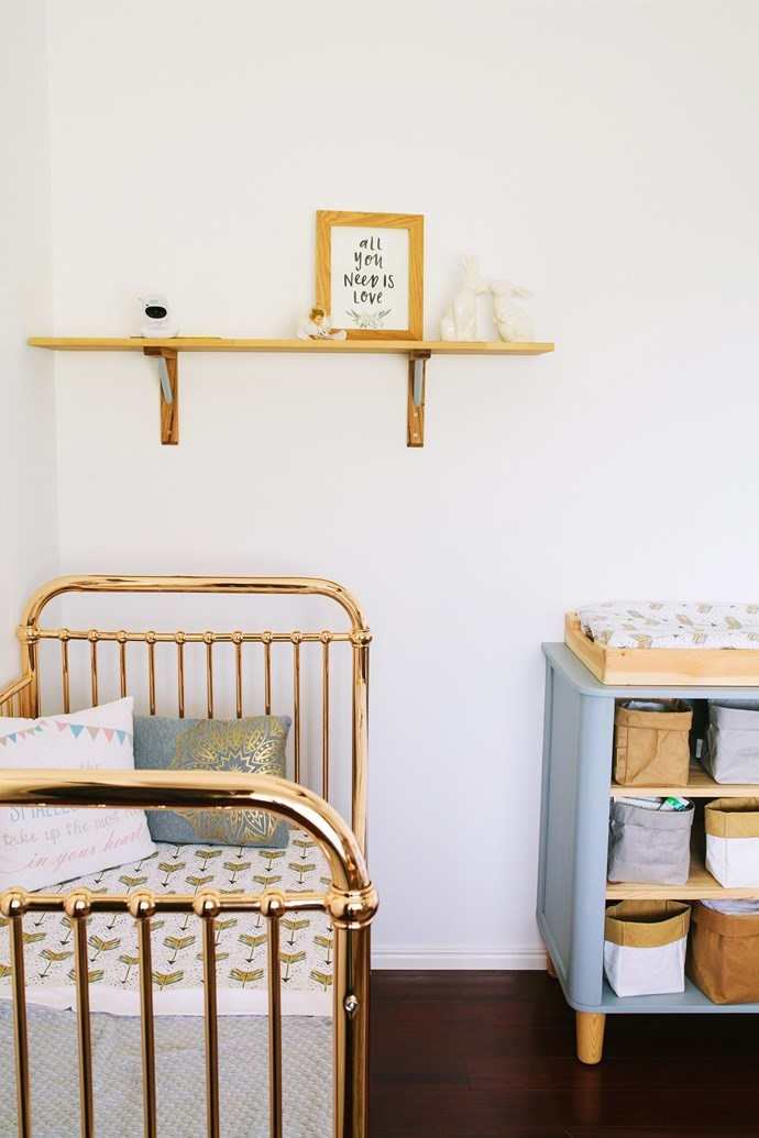 """The """"Ellie"""" cot in Rose Gold from Incy Interiors adds """"wow"""" factor to the nursery."""
