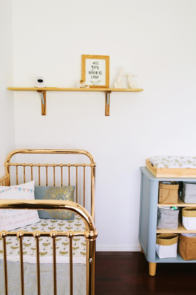 "The ""Ellie"" cot in Rose Gold from Incy Interiors adds ""wow"" factor to the nursery."