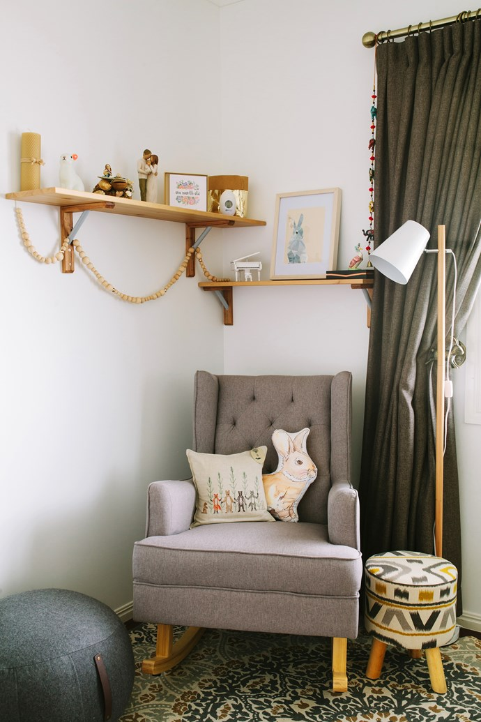 A comfy armchair, from Belly 2 Baby, is the perfect place to feed and soothe baby Gemima.