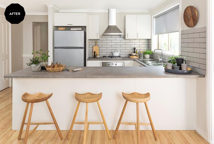 Faux laminate finishes replicate the look of stone or concrete, without the hefty price tag.