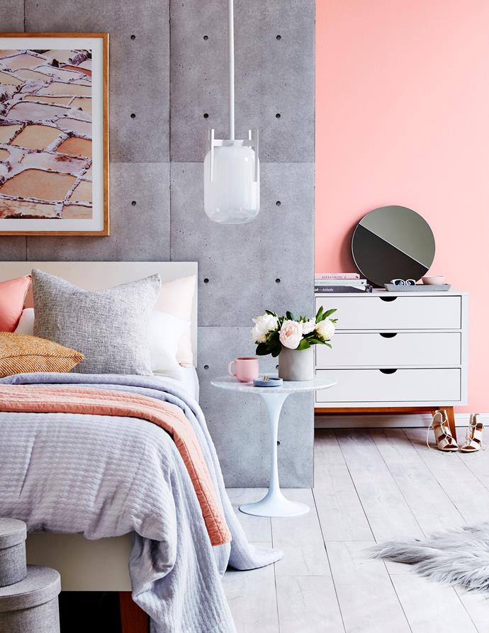 A muted palette of pastels is great for a bedroom because it's very calming.