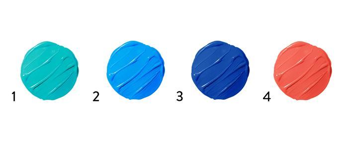 "1. Taubmans ""High Dive"". 2. Porter's Paints ""Westport Blue"". 3. Dulux ""Complex Blue"". 4. Taubmans ""Strawberry Splash""."