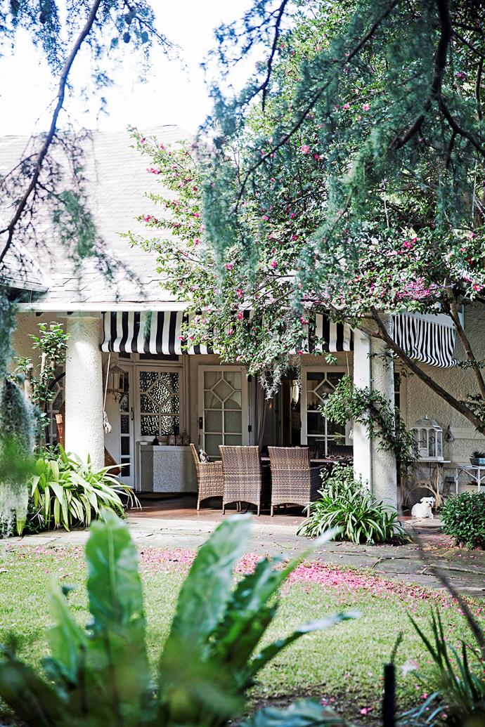 A charming covered entertaining area sits at the front of the house overlooking the garden and the pool.