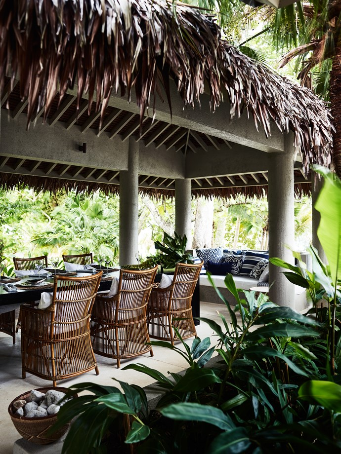 Adjoining the main house is anakamal with natangura palm roof installed by locals. Da Vinci chairs from Domo.