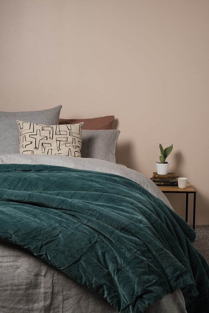 Sove chambray linen pillowcases, from $49.90. Sove chambray linen duvet cover, from $249. Cotton velvet quilted bedspread, from $359. Condor printed cushion cover, $69.90. Linear two tier side table, $440. Talo mug, $25.90.