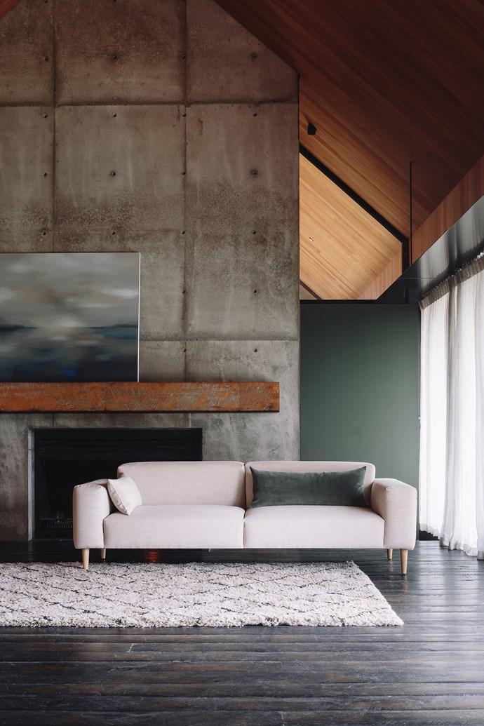 Hem sofa, from $2890. Cotton velvet cushion cover, $49.90. Lana hand tufted rug, from $1290.
