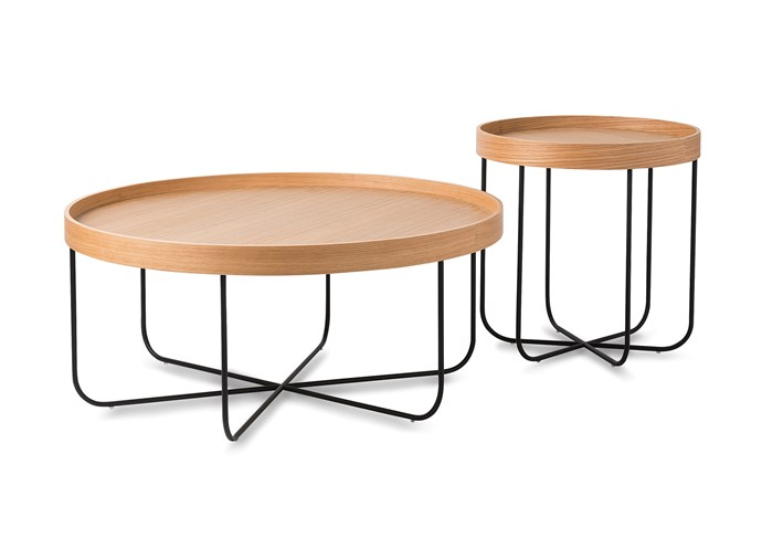 Segment coffee table, $890, side table, $540.