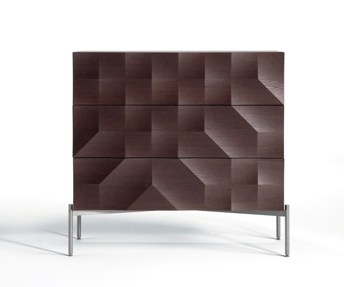 This faceted walnut credenza is one of several pieces presented for Italian furniture company Natuzzi by Jamie Durie. A blue velvet bed was another winning piece.