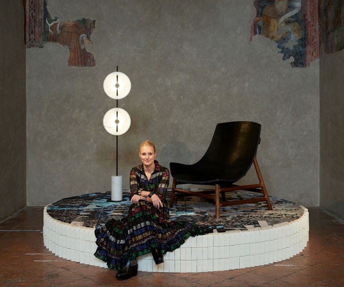 Australian designer Emma Elizabeth showcased her rugs in Milan and curated the exhibition featuring another 10 local designers in an historic former chapel in the city centre. Photo – Fiona Susanto.