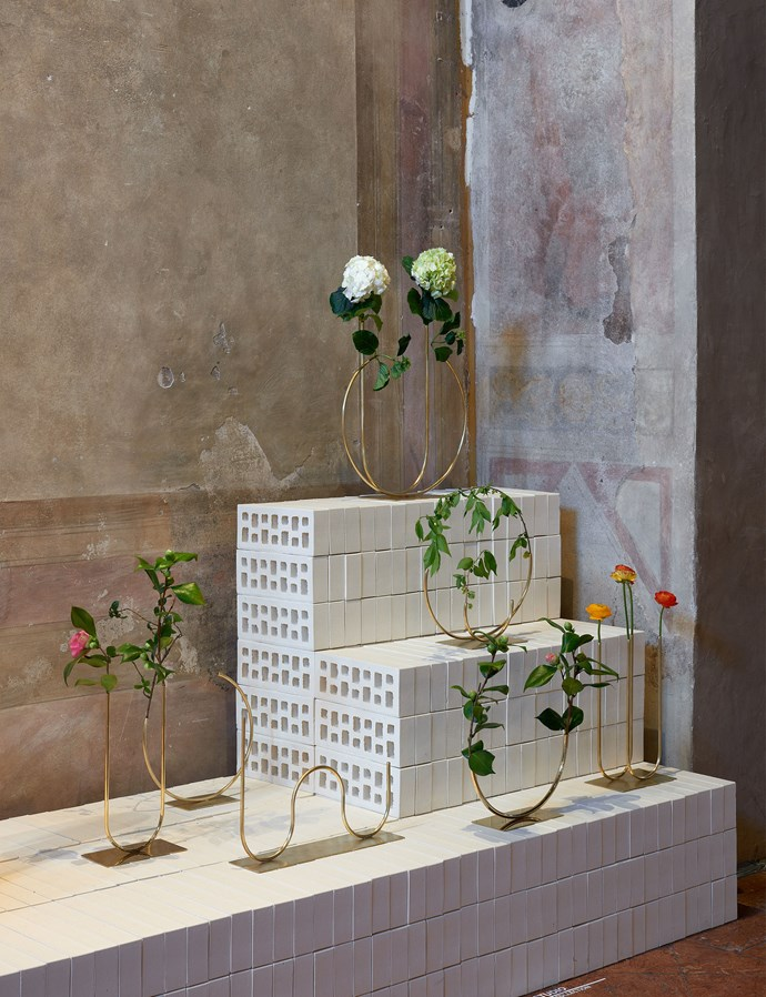 Whimsical display vessels by ACV Studio. Brickworks supplied the white bricks used in the display. Photo – Fiona Susanto.