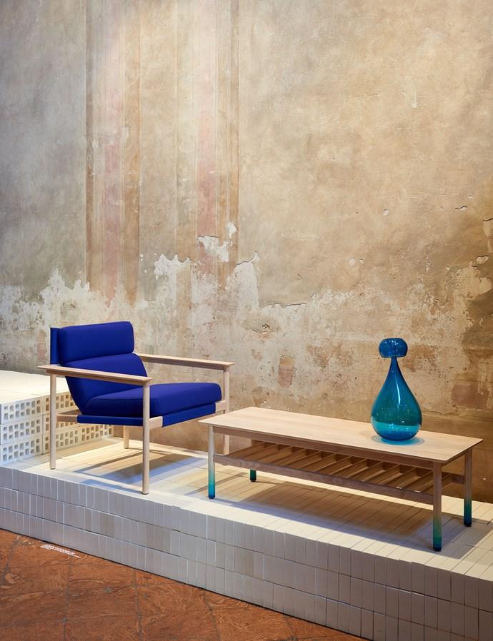 Designer Adam Goodrum is a Milan regular. Bilgola chair and coffee table. Photo – Fiona Susanto.