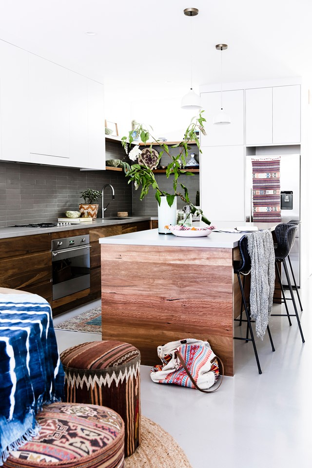 "As the creative director of fashion and swimwear for Tigerlily - a job that takes her around the world sourcing inspiration - Amelia Mather's [renovated Victorian worker's cottage](https://www.homestolove.com.au/a-global-inspired-home-in-the-heart-of-sydney-5087|target=""_blank"") is a masterclass in creating a (gorgeous) culture clash. *Photo: Maree Homer* 