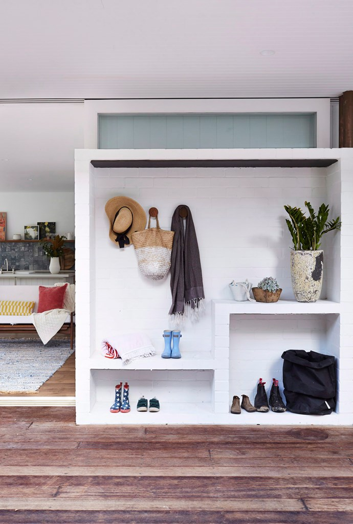 You could recreate the look with a diverse selection of salvaged hooks, a mix of bench heights and base storage for shoes and bags. Play around with colour and texture, too, to add interest to a space like this. Photo: Alicia Taylor / bauersyndication.com.au