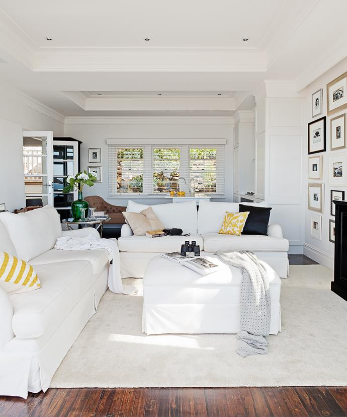"""Furnishings were designed and chosen based on comfort and keeping to our simple palette of whites,"" Jane says. The sofas were custom-made by Jade Upholstery in Gladesville, Sydney."