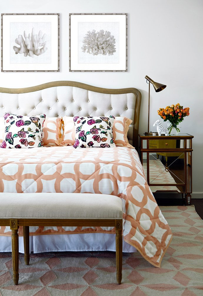 """A play of geometric patterns and classic contours was key to shaping this bedroom, says interior designer [Stewart Horton](www.hortonandco.com.au/?utm_campaign=supplier/