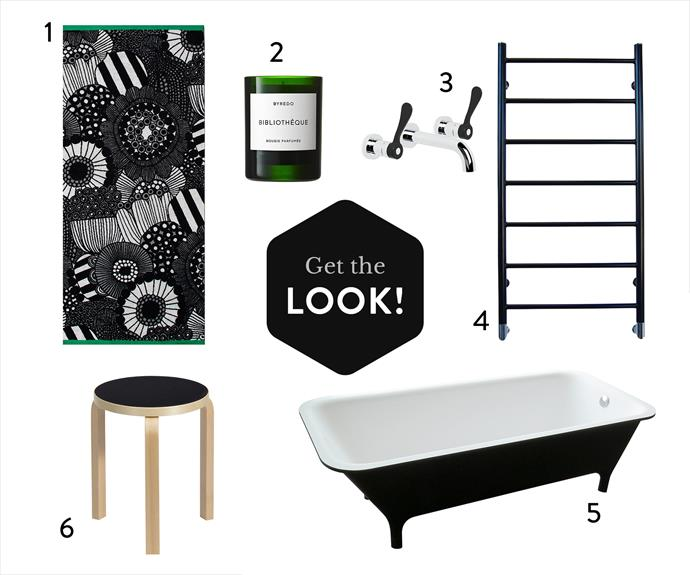 "1. Siirtolapuutarha bath **towel**, $72, from Marimekko. 2. Byredo ""Bibliothèque"" scented **candle**, $81, from Net-A-Porter. 3. Memphis 1.9605.00.3.11 **tap set**, $530, from Brodware. 4. Hydrotherm Milan heated **wall rail** (1.03m x 50cm), $1100.99, from Reece. 5. Morphing **bathtub** in White/Black (1.8m x 80cm x 56cm), $11,660, from Candana. 6. Artek ""Paimio"" Anniversary Edition **stool** in Black, $370, from Anibou."
