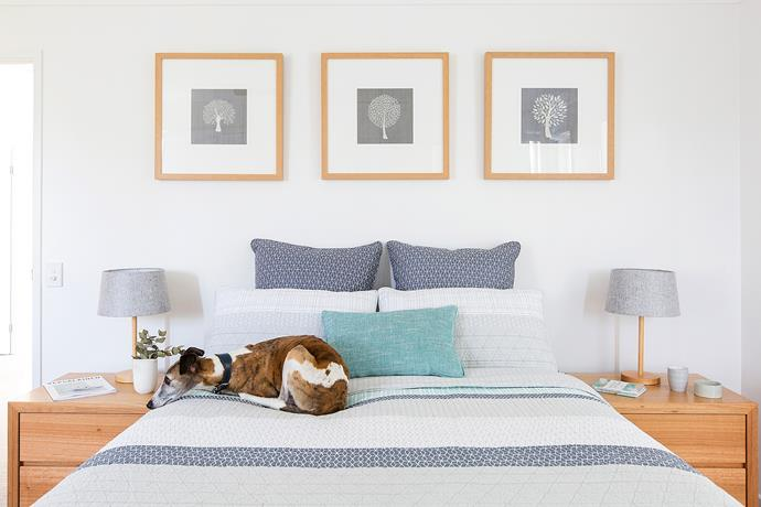 The main bedroom has been styled with bed linen from Adairs, lamps from Freedom and art from Designer Boys.