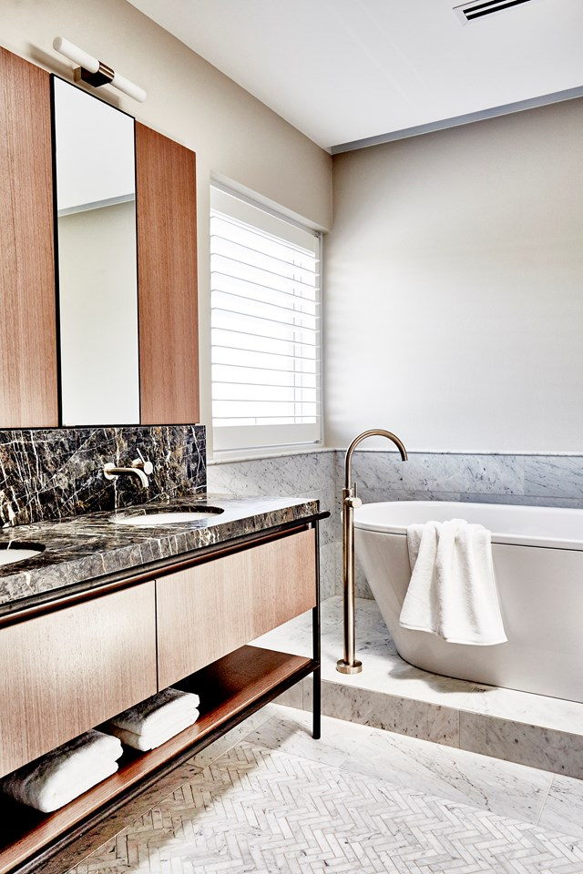 "**Vanities with a furniture feel** - In line with the ['cafe style' trend](https://www.homestolove.com.au/the-block-2018-kitchen-trends-19242|target=""_blank""), bathroom vanities have begun to move away from wall-hung and built-in designs for something more refined and 'furniture-like.' [Katie Uther](https://www.homestolove.com.au/8-luxury-bathroom-design-ideas-to-inspire-5117