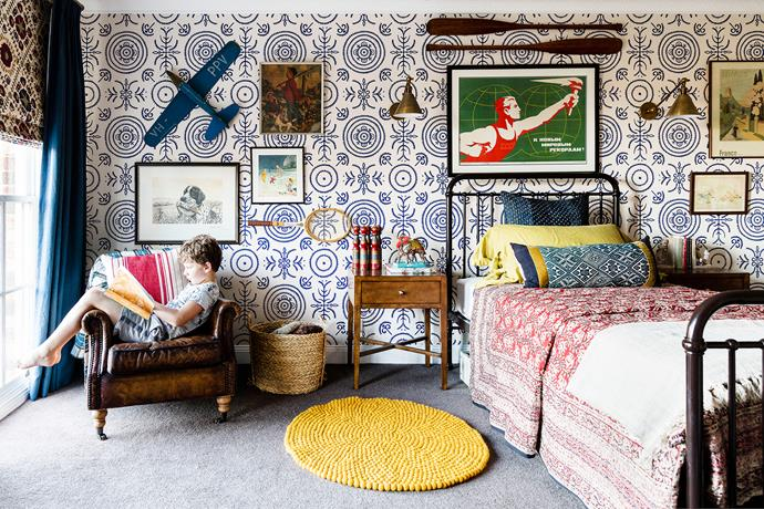 Fun and funky yet ageless, the decor is designed to see Charles through to his teens. Anna Spiro Round and Round the Garden wallpaper, from Porter's Paints. Bed, from Incy Interiors. Vintage artworks, all from Palace Trader.
