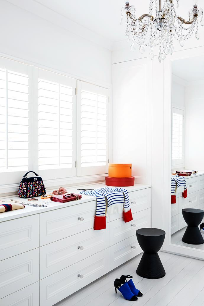 Eva's beloved dressing room with a Kartell 'Prince Aha' stool by Philippe Starck.