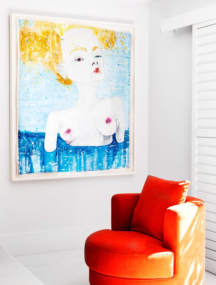 Artwork by Del Kathryn Barton. Orange chair from King Living.
