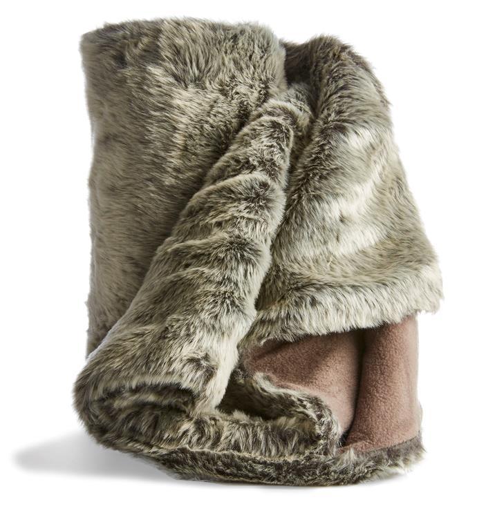 Reversible reindeer faux fur throw, $25.