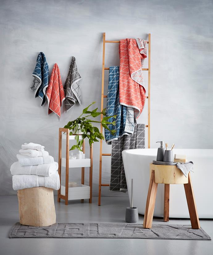 **CLOCKWISE FROM TOP-LEFT** Grid hand towel, $4 each. Grid bath towel, $10 each. Bamboo decorative ladder, $25. Relax jacquard bath runner, $12. 3 tier caddy with bamboo frame, $19. London towel range, from $2.