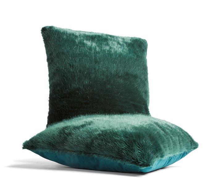 Green faux fur cushion, $12.