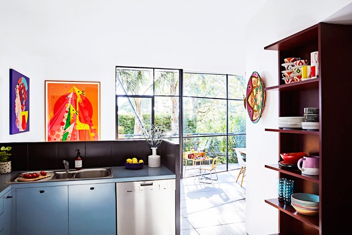 The kitchen is the result of the 1980s renovation of the home and is inspired by the kitsch cubist era.