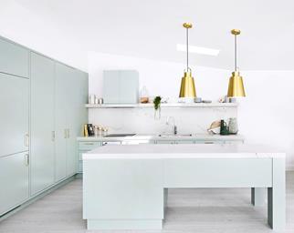 pastel green kitchen