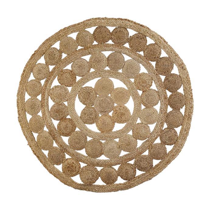 "House & Home round jute rug, $29, [Big W](https://www.bigw.com.au/product/house-home-round-jute-rug-brown/p/672076/|target=""_blank""|rel=""nofollow"")"