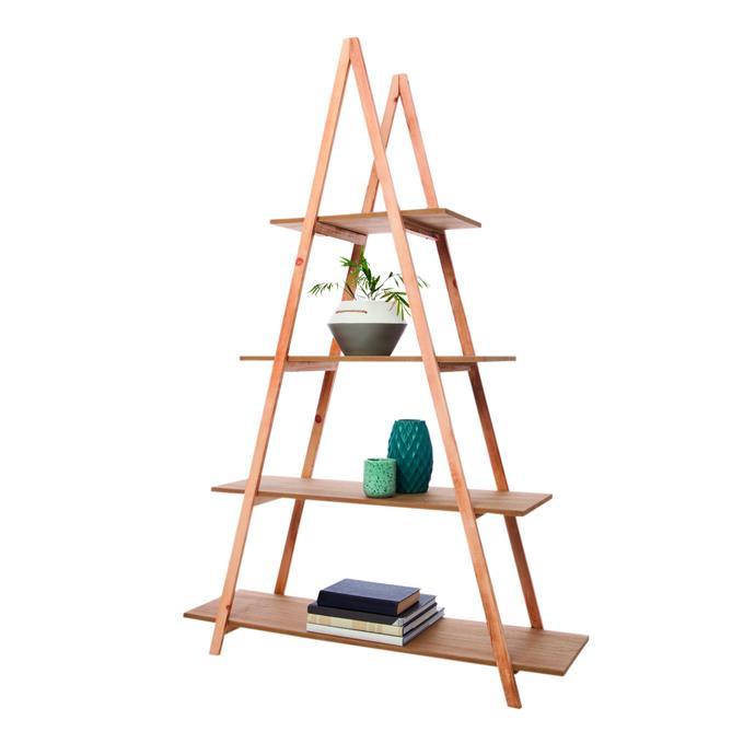 "A-frame bookshelf in Natural, $49, [Kmart](https://www.kmart.com.au/product/a-frame-ladder-bookshelf/1880323|target=""_blank""|rel=""nofollow"")"