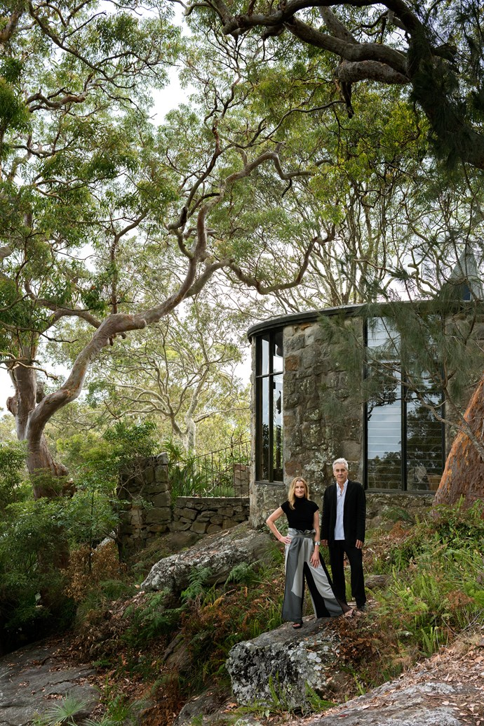 Caroline Casey and Rob Brown at their latest renovation project, a sprawling 1960s home in Sydney's Avalon known as 'The Castle'. *Photo: Nicholas Watt*