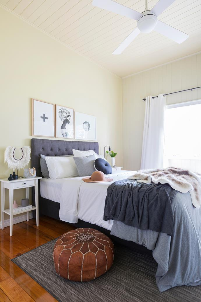 The bedroom is a monochromatic mix of fabric, tone and texture.