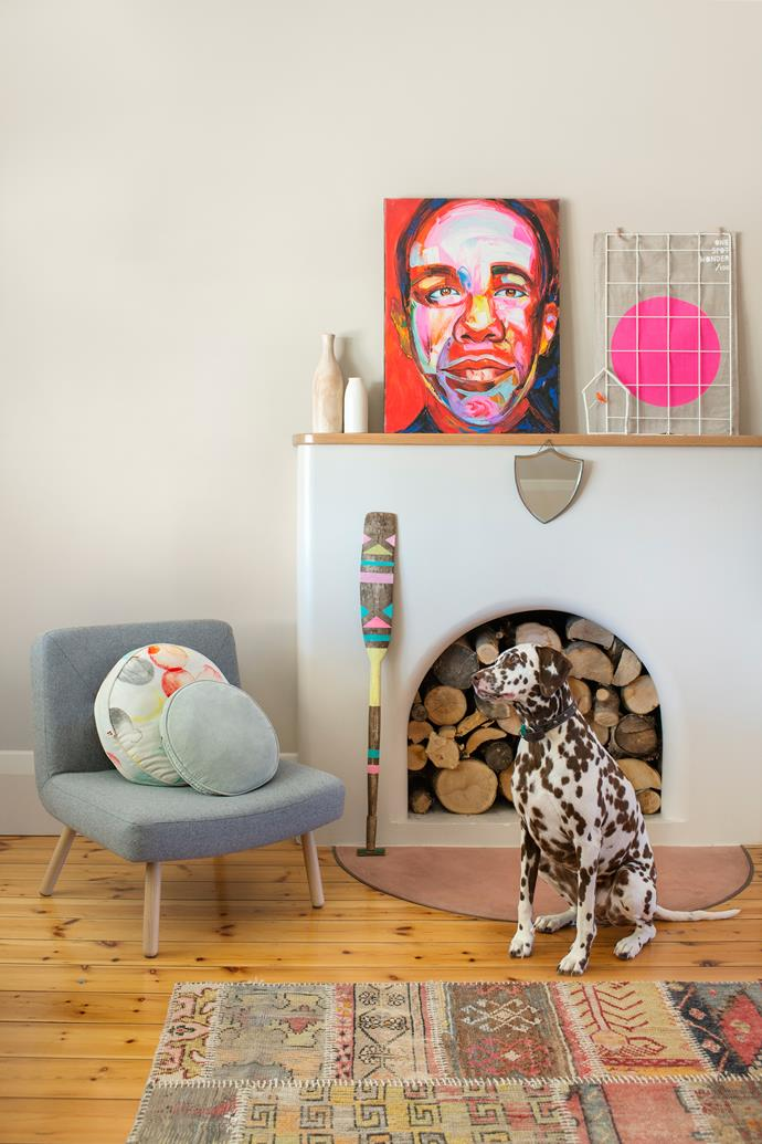 Rebecca and James have a penchant for artworks that are fun, fluoro and a little kitsch. Painting by an unknown Bali artist.