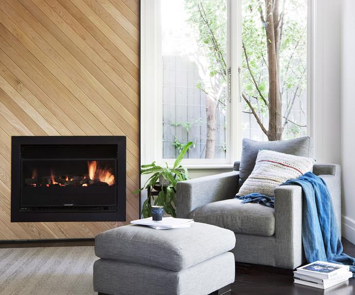 armchair and fireplace
