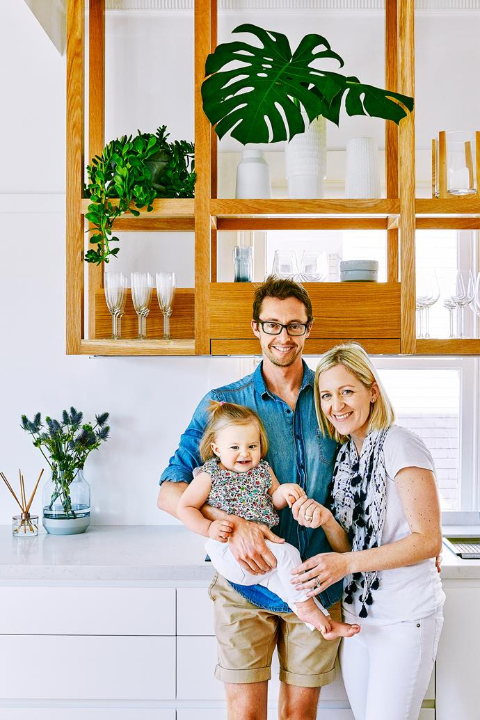 Meg and Andrew's architect came up with the idea for the suspended timber shelving in the kitchen – and they are delighted with the result.