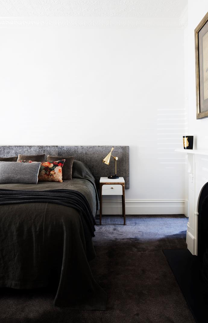 Custom bedhead, cushions and bed linen from Seneca. Tom Dixon 'Beat' lamp.