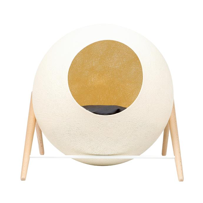 'The Ball' **pet bed** in Champagne, $349.95, from Zanui.