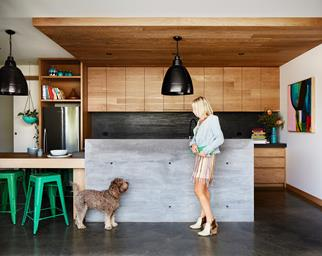 timber and concrete kitchen