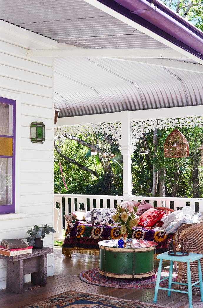 Ranging from birdcages to rugs, sconces to stools, Victoria's array of pre-loved pieces are artfully blended and arranged on the back verandah. An old bass drum is the perfect size for a coffee table – just add a glass top and casters.