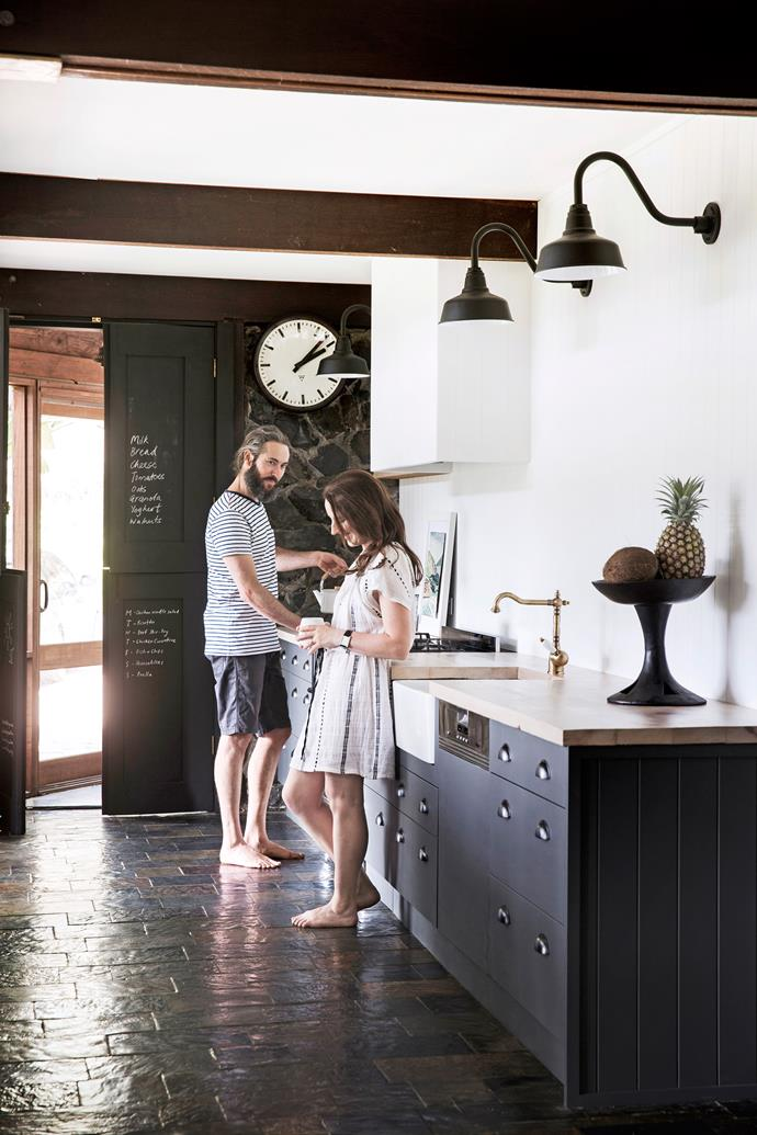 The couple has renovated the kitchen; previously very modern in style.