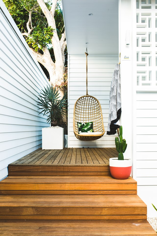 A hanging bamboo chair, like this one in a [guest house in Byron Bay](http://www.homestolove.com.au/bask-and-stow-guesthouse-byron-bay-5309), is the very definition of carefree outdoor styling. *Photo: Lynden Foss / Australian House & Garden*